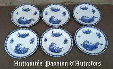 B2017972 - 6 assiettes plates faïence de Sarreguemines décor Châlet - TB état