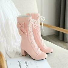 Sweet Womens Lolita Round Toe Bowknot Block Heel Lace Up Ankle Boots Cute Shoes