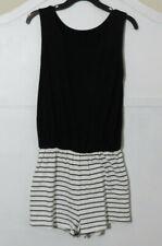Romper Shorts Jumpsuit L Black & White stripe pattern Sleeveless