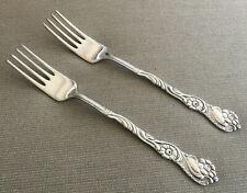 2 Salad Forks 4 Tines Nils Johan NIJ4 Rosten Stahl Sweden Silver Plate Scrolls