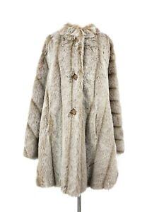 New Mark Reed Faux Fur Cape Womens 2XL Beige Coat Plus Size