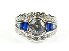 Art Deco 3.5ctw White Stone & Lab Sapphire Coated Platinum Sterling Ring s7 144a
