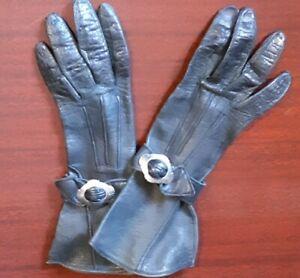 1940's, Black Leather gloves, size XXS
