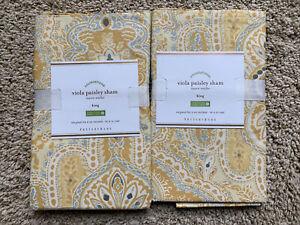 POTTERY BARN Viola Paisley Cotton 2 KING Shams - NEW NLA - Yellow