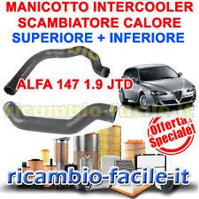 KIT MANICOTTO TUBO ALFA 147 INTERCOOLER SCAMBIATORE CALORE SUPERIORE + INFERIORE