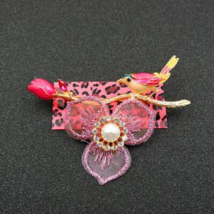 New Betsey Johnson Pink Rhinestone Cute Pearl Bird Crystal Charm Brooch Pin
