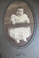 1900s Chubby Fat Angry Baby Dress Photo Folded Cardboard Frame LaFayette Indiana