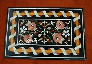 24 x 36 Inches Marble Coffee Table Top Multi Color Gemstones Inlaid Sofa table