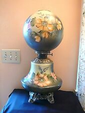 """26"""" Antique Pittsburgh Metal Parlor Oil Lamp Early 1900's, Floral, Really Nice"""