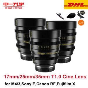 Zhongyi Cinema Lens 17mm 25mm 35mm T1.0 Kit for Micro 4/3 BMPCC G3 GH3 GH4 OM-D