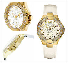 NWT GUESS Swarovski $125 Gold 3-Dial White Patent Leather Ladies Watch U12564L3