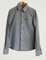 Superdry Shirt Size M Blue Fine Check Long Sleeves Smart Casual Excellent Condit
