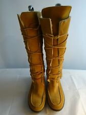 Ralph Lauren Ladies US8 UK 6-7 Suede Boots Tan Shearling Lace-Up Cosy Winter VGC
