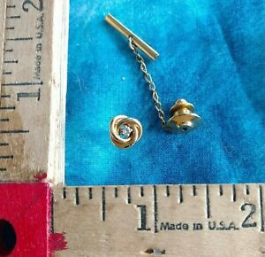 Vintage Gold tone w Crystal Knot Design Tie Tack w Chain NICE
