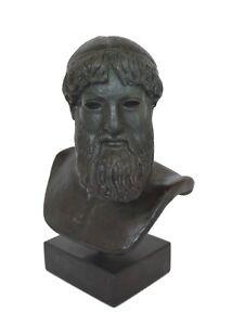 Zeus or Poseidon museum reproduction sculpture bust bronze effect