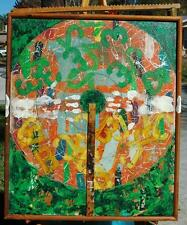 Mid Century Abstract Mixed Media Collage On Canvas - Unsigned