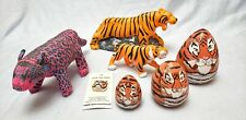 Tiger collection lot 5 Nesting tiger heads dolls plastic bank plush raja