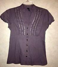 Maurice's Ruffled Button Down Short Sleeve Dressy Shirt Purple Size M