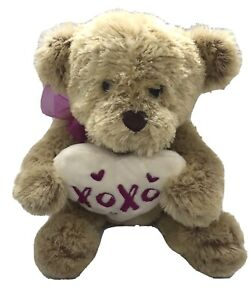"Dan Dee Collector's Choice Bear XOXO Heart Stuffed Beige Plush 12"" Valentine's"