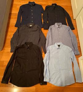 Lot of 6 H&M Slim Fit button up Men's Small Dress Shirt Premium cotton iron easy