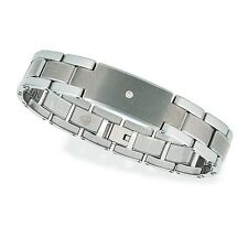 NEW 14kt & Tungsten Diamond ID Bracelet with Natural .10 Carat Center Diamond