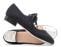Girls Ladies Black Canvas Low Heel Tap Dance Shoes With Tap Plates By Katz