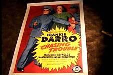 CHASING TROUBLE ORIG MOVIE POSTER 1940  LINEN FRANKIE DARRO VINTAGE POLICE