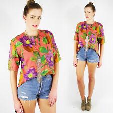 Vtg 80s 90s Tropical Floral Print High Low Hi Lo Shirt Blouse Crop Top S M L XL