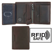 Men's Alperto Luxury Designer Small Brown Trifold Leather Wallet RFID Safe NEW