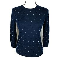 J. Crew Polka Dot Merino Wool Navy Blue Long Sleeve Sweater Small