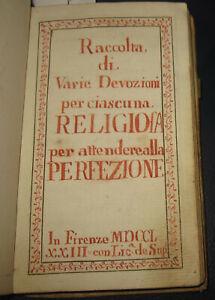 1773 Manoscritto devozionale  Albergotti, Firenze Arezzo + Miscellanea religiosa