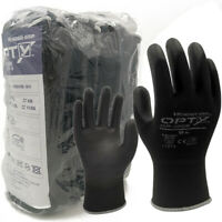 12 Pairs Safety Work Gloves Ultra-Thin PU Coated Black Seamless Knit Glove