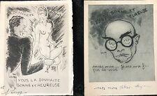 LEROY S DEUX GRAVURES CARTES DE VOEUX HUMORISTIQUES