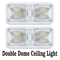 2 12V Double Switch Dome Ceiling Light 48LED Interior For RV Camper Caravan Boat