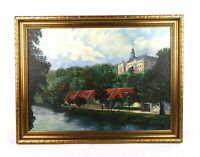 Antique European Oil Painting of Osterstein Castle in Zwickau Germany Signed