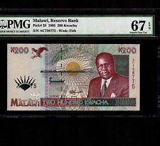 Malawi 200 Kwacha 1995 P-35 * PMG Superb Gem Unc 67 EPQ * Elephants *