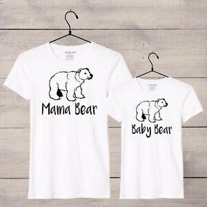 Mama Bear Baby Bear Mother daughter t-shirt set, 2 tshirts, S-XL Black or White