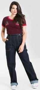 Hell Bunny Weston 40s 50s High Waisted Navy Blue Denim Jeans