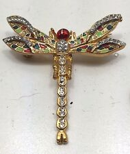Rare Vintage Estate Retro Enamel Plique A Jour Dragonfly Brooch Pin Gorgeous