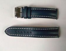 Breitling vera pelle di vitello blu cinturino con fibbia e perni, 105X, 22-20.