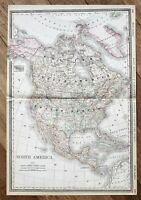 1898 North America Map United States Mexico Railroads LARGE DOUBLE PAGE ORIGINAL