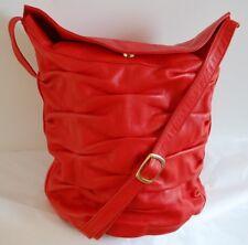 New Listingvintage 80s Brio Lipstick Red Gathered Genuine Glove Leather Velvet Crossbody