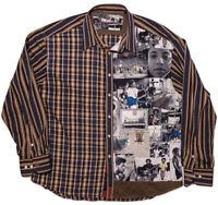 Robert Graham Long Sleeve Flip Cuff Shirt African American Black Rebel Music 3XL