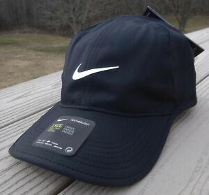 NWT NIKE Dri-Fit Featherlight Adult Adj Tennis/Running Hat-OSFM BLACK/WHITE Logo