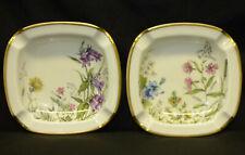 2 Vtg Krautheim Germany Meadow Flowers Porcelain Ashtrays Wiesengrund Bavaria