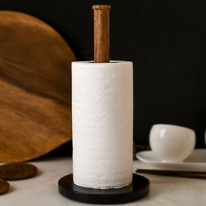 Matte Black Marble Paper Towel Holder Stand for Countertop or Table