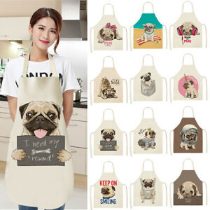 Waterproof Cute Dog Pug Pattern Cotton Linen Apron Kitchen Cooking Bib Aprons