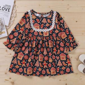 Sweet Vintage CHRISTMAS Print Long-sleeve DRESS for Toddler Girl - MELB stock