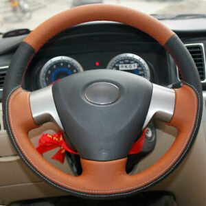 Top Leather Steering Wheel Hand-stitch on Wrap Cover For Toyota Corolla