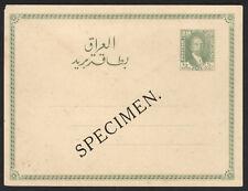 """Iraq Irak 1931, """"SPECIMEN"""" King Faisal I, 1/2 Ann Postal Stationery Card,MH Ps19"""